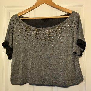 Gray Forever 21 Off the Shoulder Crop Top • Size S